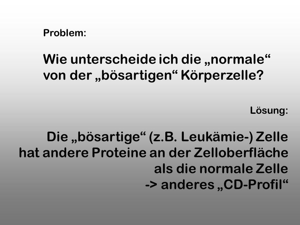 Lösung: Die bösartige (z.B. Leukämie-) Zelle hat andere Proteine an der Zelloberfläche als die normale Zelle -> anderes CD-Profil Problem: Wie untersc