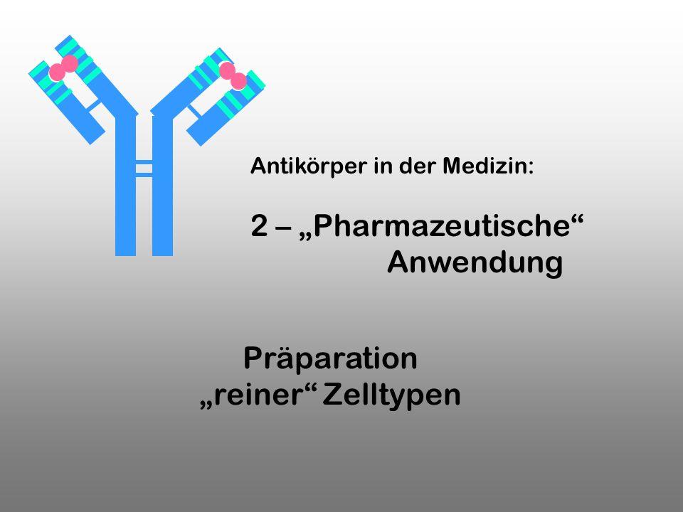 Präparation reiner Zelltypen Antikörper in der Medizin: 2 – Pharmazeutische Anwendung
