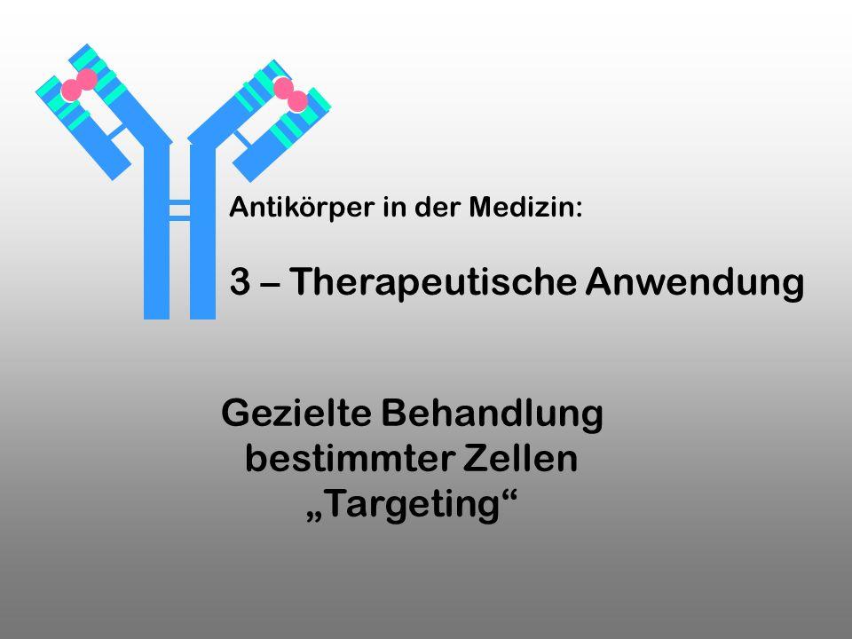 Gezielte Behandlung bestimmter Zellen Targeting Antikörper in der Medizin: 3 – Therapeutische Anwendung
