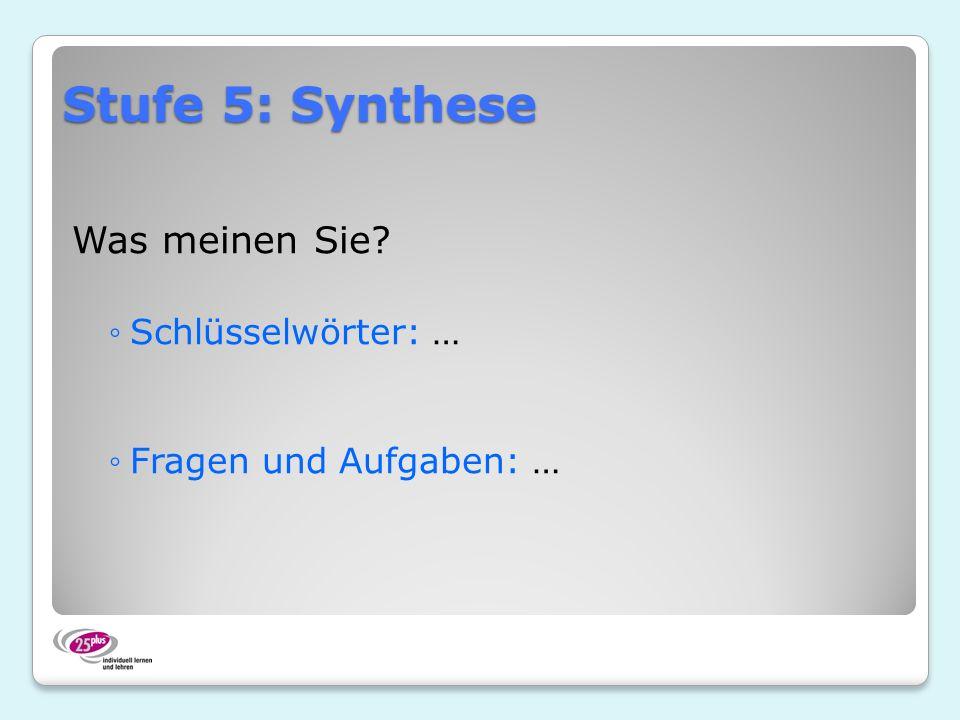 Stufe 5: Synthese Was meinen Sie? Schlüsselwörter: … Fragen und Aufgaben: …