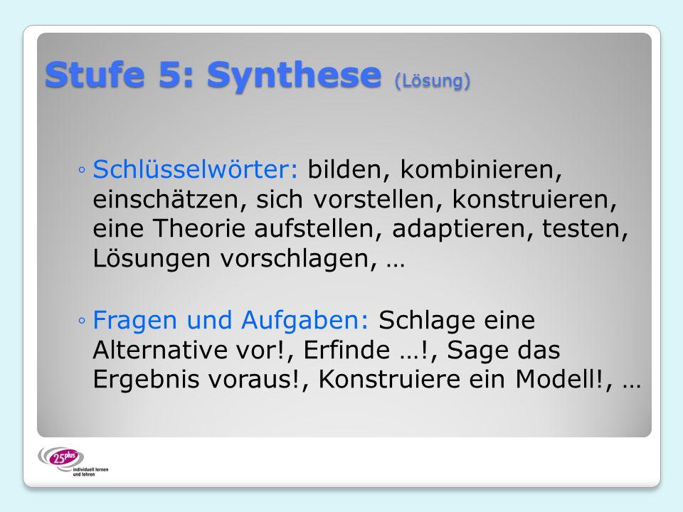 Stufe 5: Synthese (Lösung) Schlüsselwörter: bilden, kombinieren, einschätzen, sich vorstellen, konstruieren, eine Theorie aufstellen, adaptieren, testen, Lösungen vorschlagen, … Fragen und Aufgaben: Schlage eine Alternative vor!, Erfinde …!, Sage das Ergebnis voraus!, Konstruiere ein Modell!, …