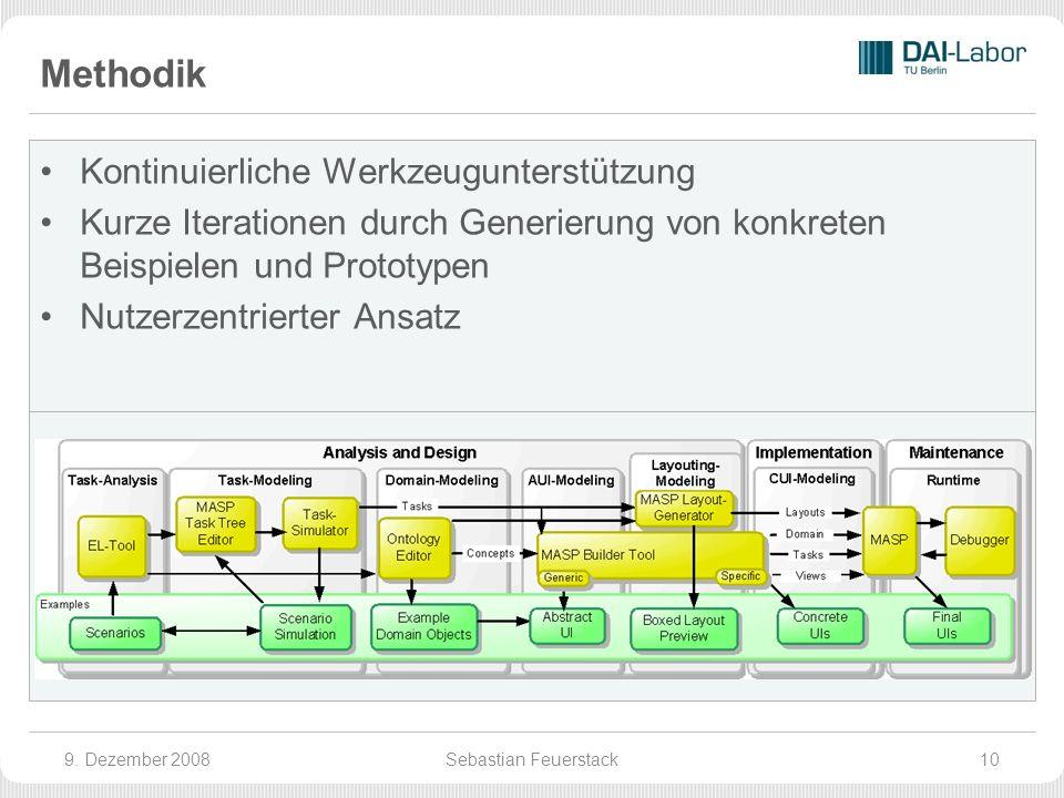 Methodik Kontinuierliche Werkzeugunterstützung Kurze Iterationen durch Generierung von konkreten Beispielen und Prototypen Nutzerzentrierter Ansatz 9.