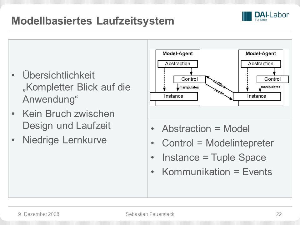 Modellbasiertes Laufzeitsystem Übersichtlichkeit Kompletter Blick auf die Anwendung Kein Bruch zwischen Design und Laufzeit Niedrige Lernkurve Abstraction = Model Control = Modelintepreter Instance = Tuple Space Kommunikation = Events 9.