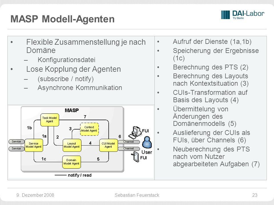 MASP Modell-Agenten Flexible Zusammenstellung je nach Domäne –Konfigurationsdatei Lose Kopplung der Agenten –(subscribe / notify) –Asynchrone Kommunikation Aufruf der Dienste (1a,1b) Speicherung der Ergebnisse (1c) Berechnung des PTS (2) Berechnung des Layouts nach Kontextsituation (3) CUIs-Transformation auf Basis des Layouts (4) Übermittelung von Änderungen des Domänenmodells (5) Auslieferung der CUIs als FUIs, über Channels (6) Neuberechnung des PTS nach vom Nutzer abgearbeiteten Aufgaben (7) 9.