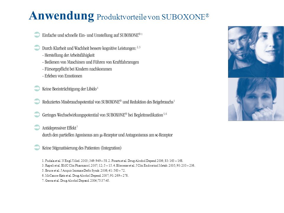 Anwendung Produktvorteile von SUBOXONE ® Das Produktprofil von SUBOXONE ®