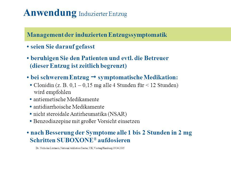 Anwendung Induzierter Entzug Entzugsprofile Die Symptome korrelieren mit der SUBOXONE ® -Dosis.
