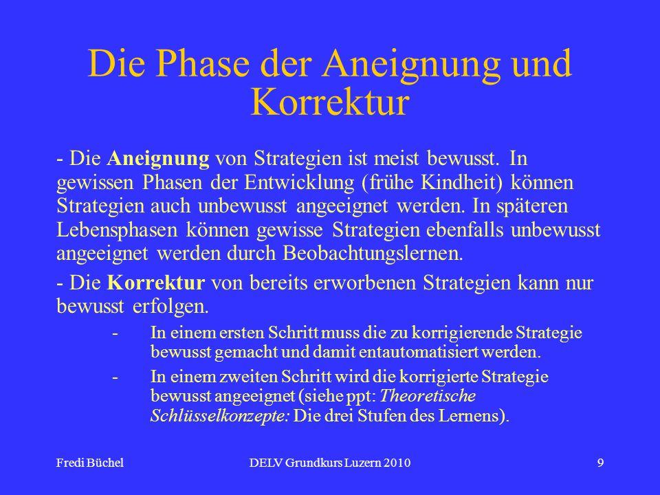 Fredi BüchelDELV Grundkurs Luzern 201010 Die Phase der Anwendung und Festigung metakognitiver Strategien - Die Anwendung metakognitiver Strategien erfolgt immer bewusst.