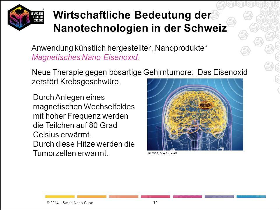 © 2014 - Swiss Nano-Cube 17 Anwendung künstlich hergestellter Nanoprodukte Magnetisches Nano-Eisenoxid: Neue Therapie gegen bösartige Gehirntumore: Da