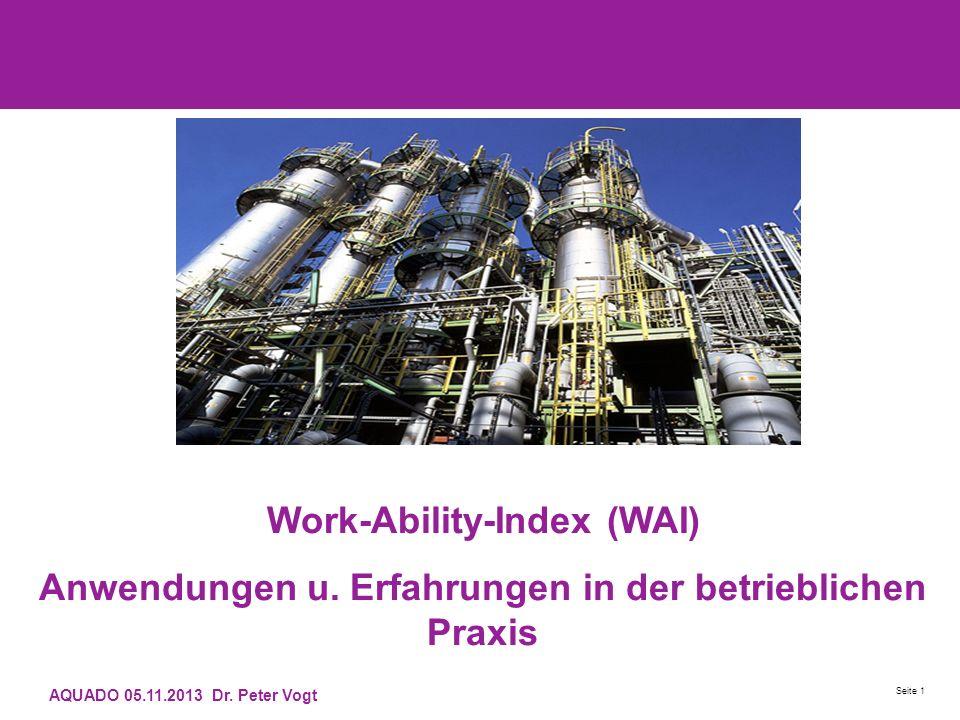 AQUADO 05.11.2013 Dr. Peter Vogt Seite 1 Work-Ability-Index (WAI) Anwendungen u. Erfahrungen in der betrieblichen Praxis