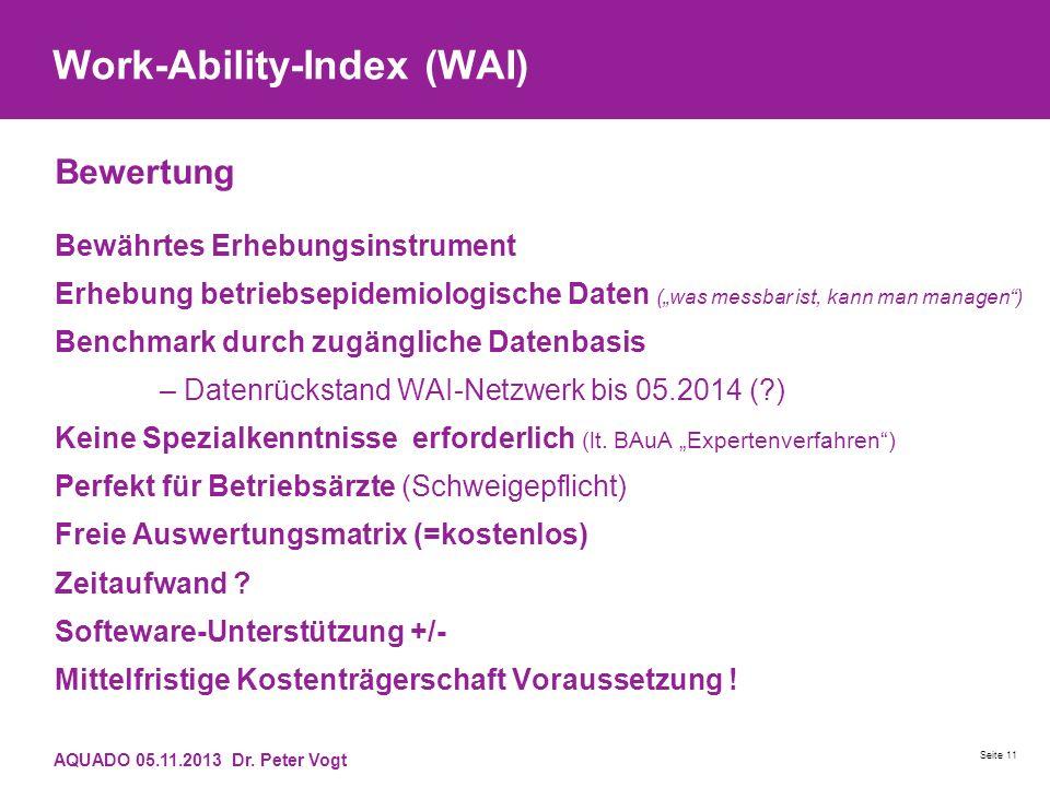 Work-Ability-Index (WAI) Bewertung Bewährtes Erhebungsinstrument Erhebung betriebsepidemiologische Daten (was messbar ist, kann man managen) Benchmark