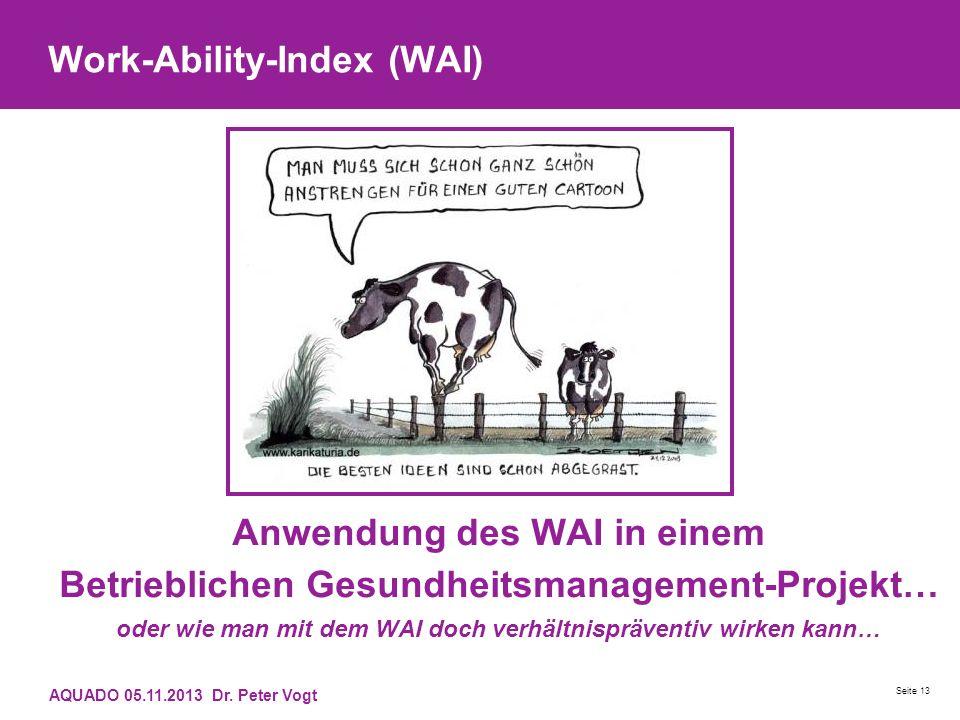 Work-Ability-Index (WAI) Anwendung des WAI in einem Betrieblichen Gesundheitsmanagement-Projekt… oder wie man mit dem WAI doch verhältnispräventiv wir