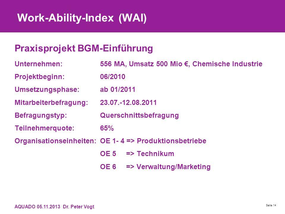 Work-Ability-Index (WAI) Praxisprojekt BGM-Einführung Unternehmen:556 MA, Umsatz 500 Mio, Chemische Industrie Projektbeginn:06/2010 Umsetzungsphase:ab