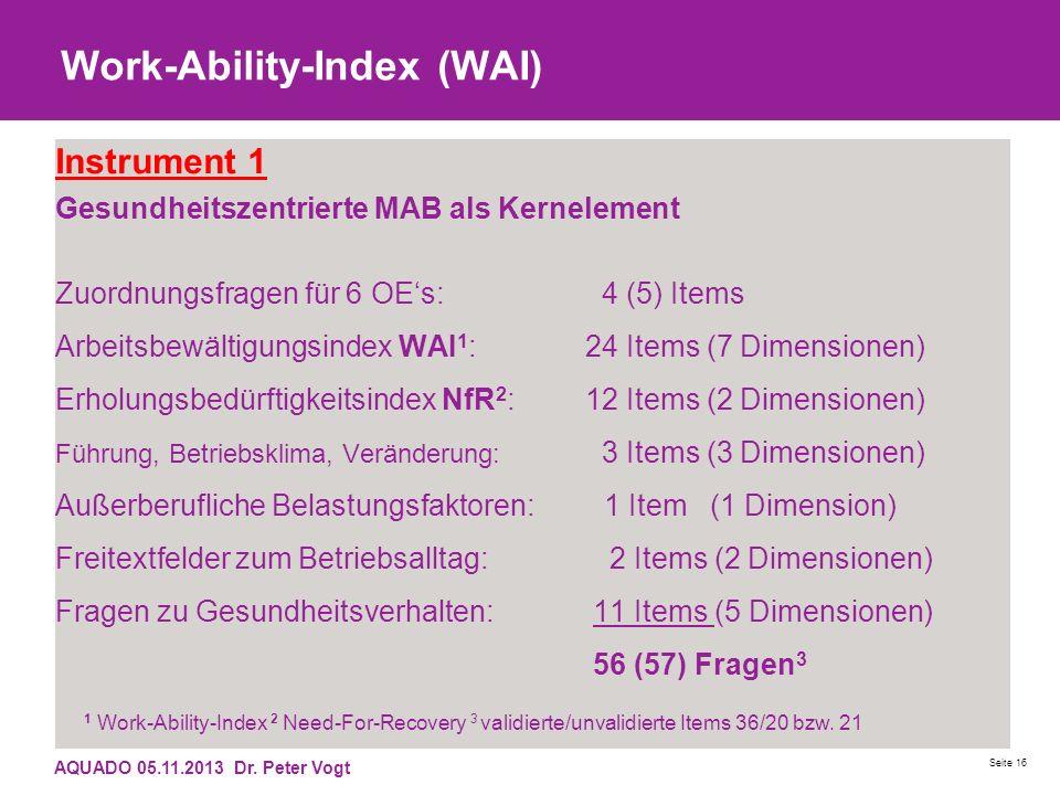 Work-Ability-Index (WAI) Instrument 1 Gesundheitszentrierte MAB als Kernelement Zuordnungsfragen für 6 OEs: 4 (5) Items Arbeitsbewältigungsindex WAI 1