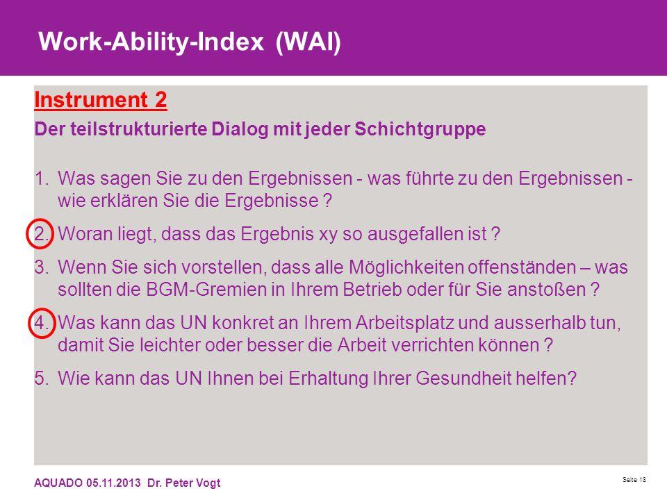 Work-Ability-Index (WAI) Instrument 2 Der teilstrukturierte Dialog mit jeder Schichtgruppe 1.Was sagen Sie zu den Ergebnissen - was führte zu den Erge