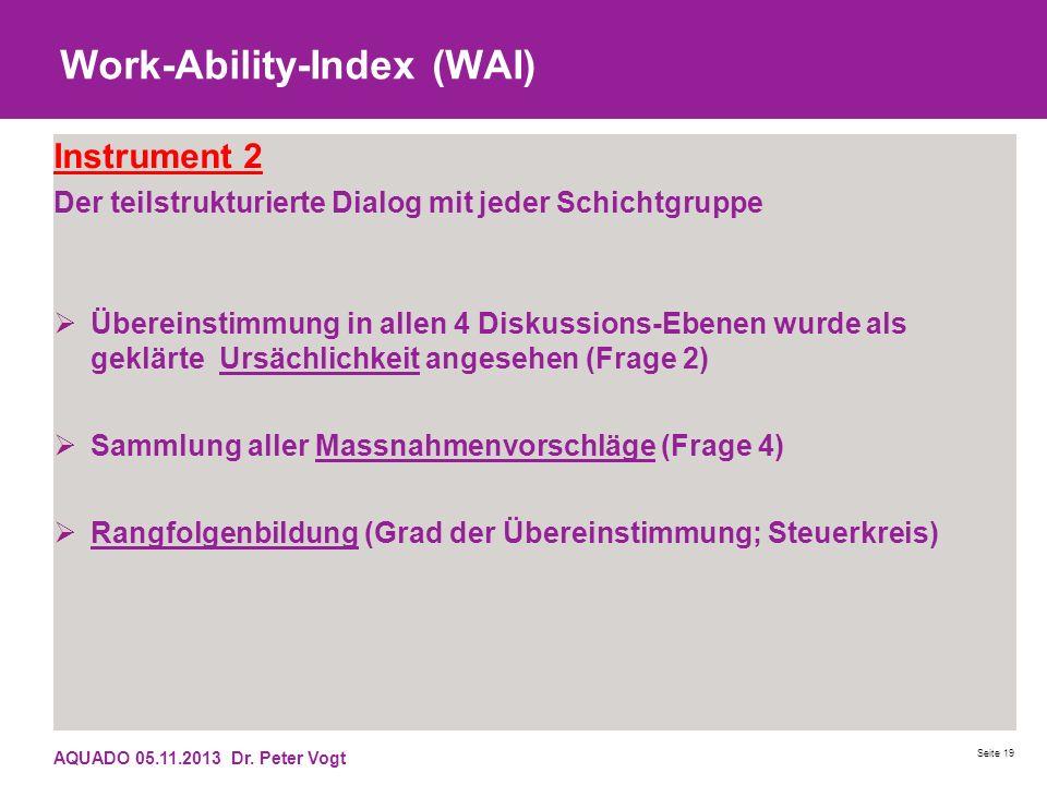 Work-Ability-Index (WAI) Instrument 2 Der teilstrukturierte Dialog mit jeder Schichtgruppe Übereinstimmung in allen 4 Diskussions-Ebenen wurde als gek