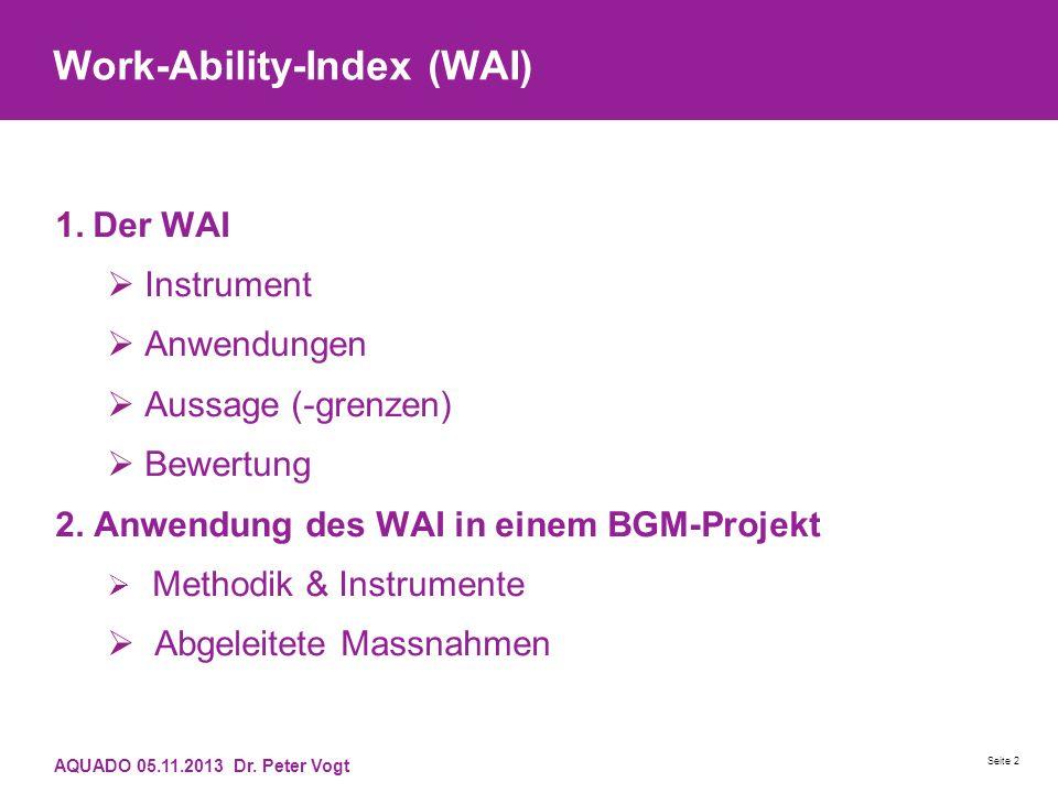 Work-Ability-Index (WAI) 1.Der WAI Instrument Anwendungen Aussage (-grenzen) Bewertung 2. Anwendung des WAI in einem BGM-Projekt Methodik & Instrument