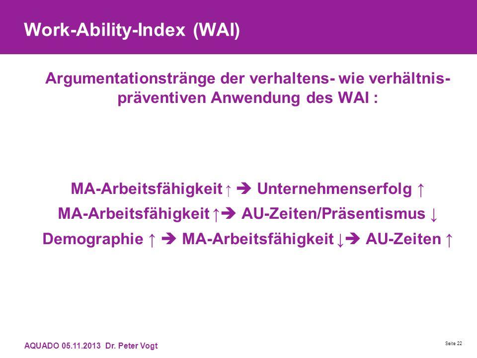 Work-Ability-Index (WAI) Argumentationstränge der verhaltens- wie verhältnis- präventiven Anwendung des WAI : MA-Arbeitsfähigkeit Unternehmenserfolg M