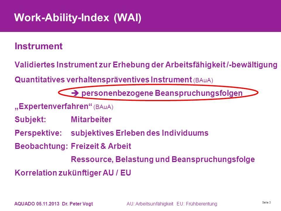 Work-Ability-Index (WAI) Instrument Validiertes Instrument zur Erhebung der Arbeitsfähigkeit /-bewältigung Quantitatives verhaltenspräventives Instrum