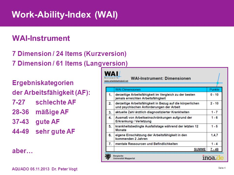 Work-Ability-Index (WAI) WAI-Instrument 7 Dimension / 24 Items (Kurzversion) 7 Dimension / 61 Items (Langversion) Ergebniskategorien der Arbeitsfähigkeit (AF): 7-27 schlechte AF 28-36 mäßige AF 37-43 gute AF 44-49 sehr gute AF aber… AQUADO 05.11.2013 Dr.