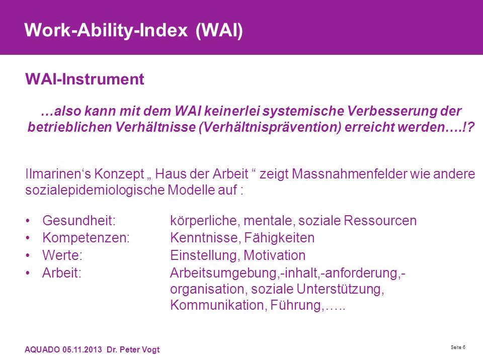 Work-Ability-Index (WAI) WAI-Instrument …also kann mit dem WAI keinerlei systemische Verbesserung der betrieblichen Verhältnisse (Verhältnisprävention