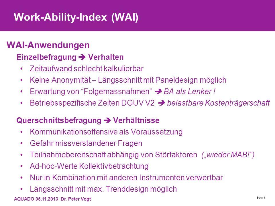 Work-Ability-Index (WAI) WAI-Anwendungen Einzelbefragung Verhalten Zeitaufwand schlecht kalkulierbar Keine Anonymität – Längsschnitt mit Paneldesign m