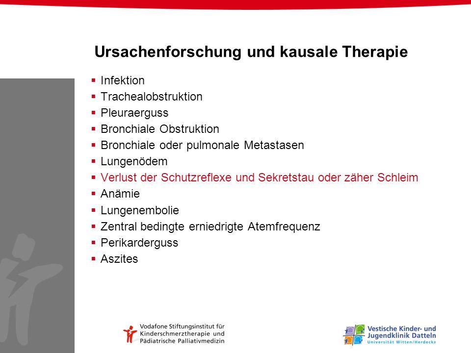 Ursachenforschung und kausale Therapie Infektion Trachealobstruktion Pleuraerguss Bronchiale Obstruktion Bronchiale oder pulmonale Metastasen Lungenöd