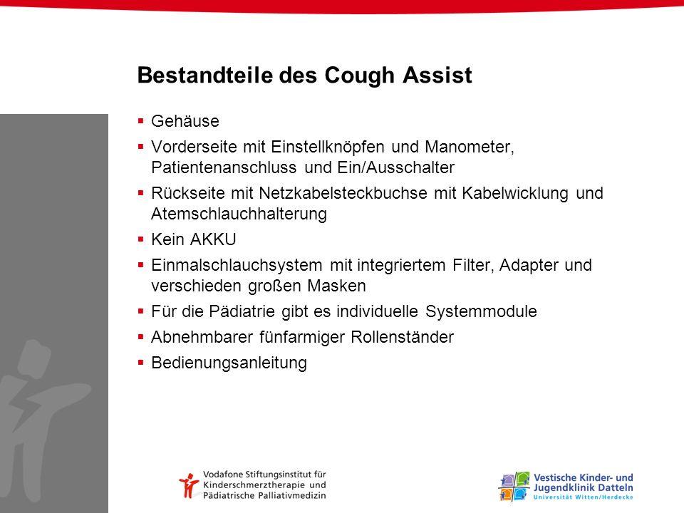 Bestandteile des Cough Assist Gehäuse Vorderseite mit Einstellknöpfen und Manometer, Patientenanschluss und Ein/Ausschalter Rückseite mit Netzkabelste