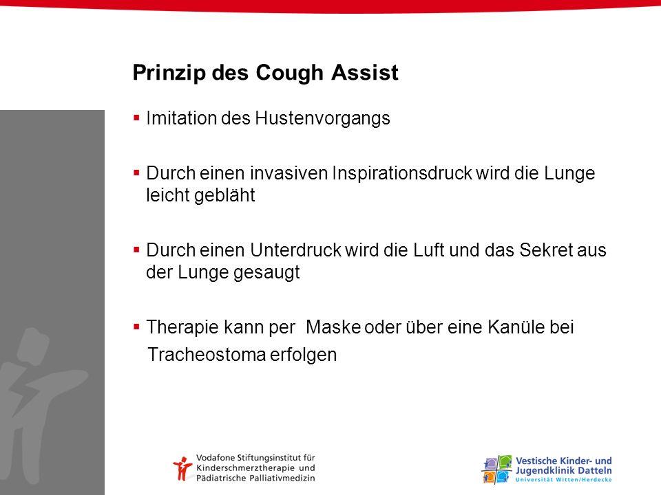 Prinzip des Cough Assist Imitation des Hustenvorgangs Durch einen invasiven Inspirationsdruck wird die Lunge leicht gebläht Durch einen Unterdruck wir