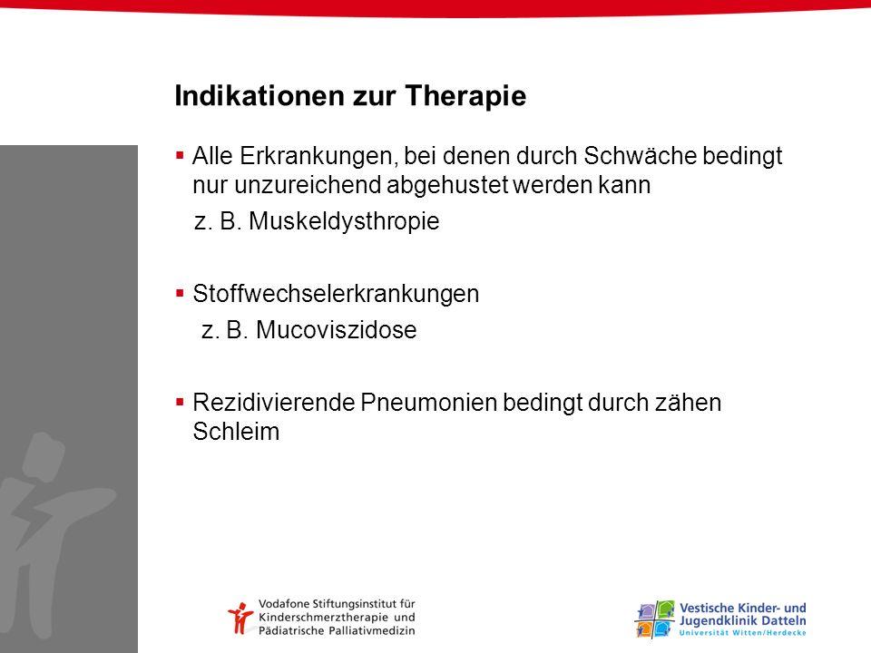 Indikationen zur Therapie Alle Erkrankungen, bei denen durch Schwäche bedingt nur unzureichend abgehustet werden kann z. B. Muskeldysthropie Stoffwech
