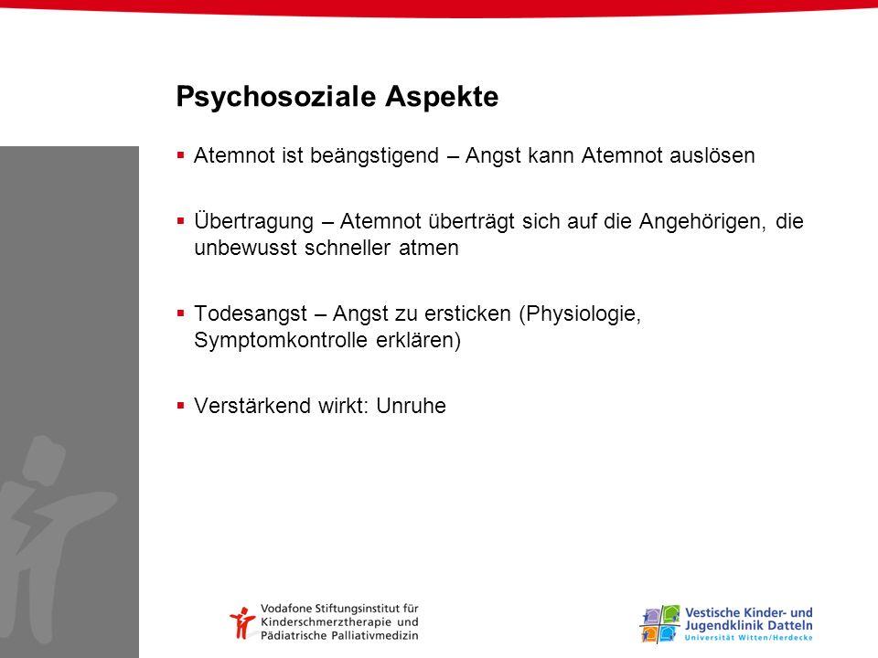 Psychosoziale Aspekte Atemnot ist beängstigend – Angst kann Atemnot auslösen Übertragung – Atemnot überträgt sich auf die Angehörigen, die unbewusst s