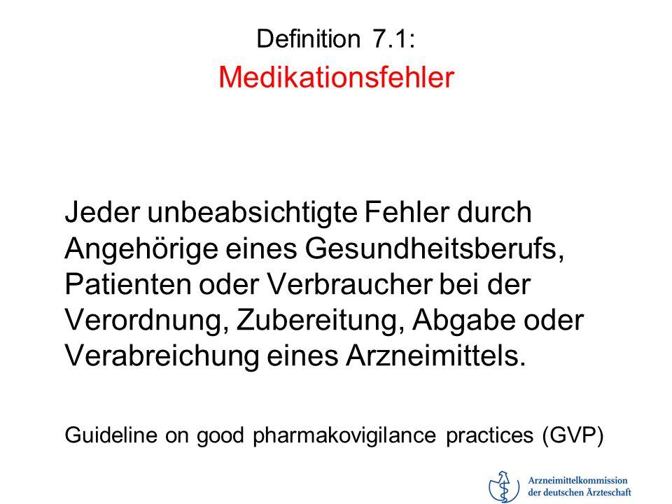 Definition 7.1: Medikationsfehler Jeder unbeabsichtigte Fehler durch Angehörige eines Gesundheitsberufs, Patienten oder Verbraucher bei der Verordnung