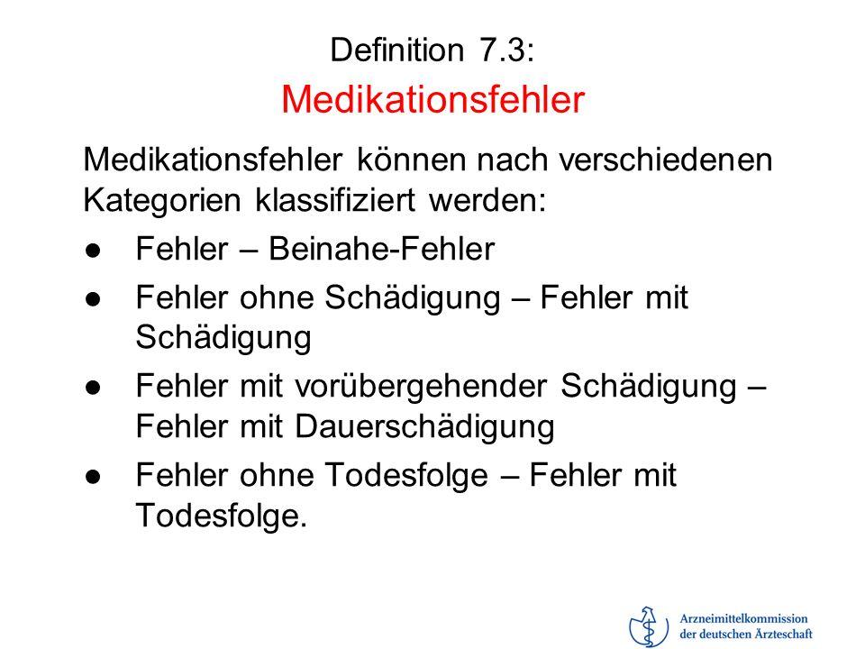 Definition 7.3: Medikationsfehler Medikationsfehler können nach verschiedenen Kategorien klassifiziert werden: Fehler – Beinahe-Fehler Fehler ohne Sch