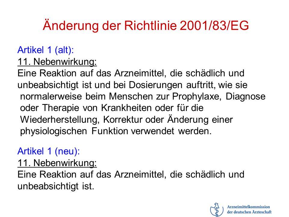 Änderung der Richtlinie 2001/83/EG Artikel 1 (alt): 11. Nebenwirkung: Eine Reaktion auf das Arzneimittel, die schädlich und unbeabsichtigt ist und bei