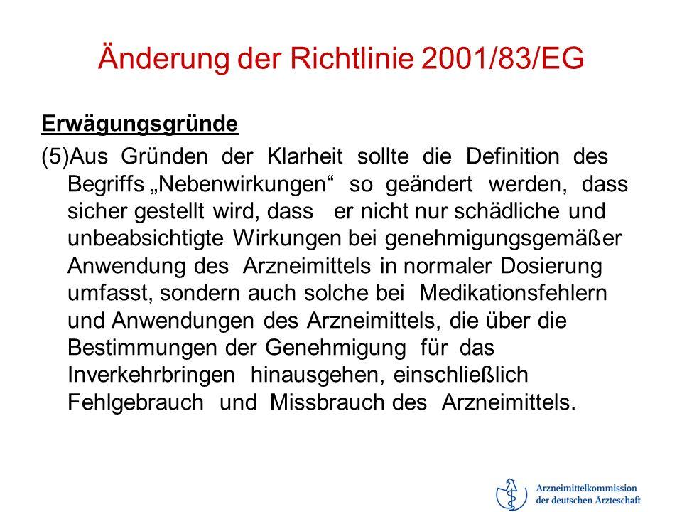 Änderung der Richtlinie 2001/83/EG Erwägungsgründe (5)Aus Gründen der Klarheit sollte die Definition des Begriffs Nebenwirkungen so geändert werden, d