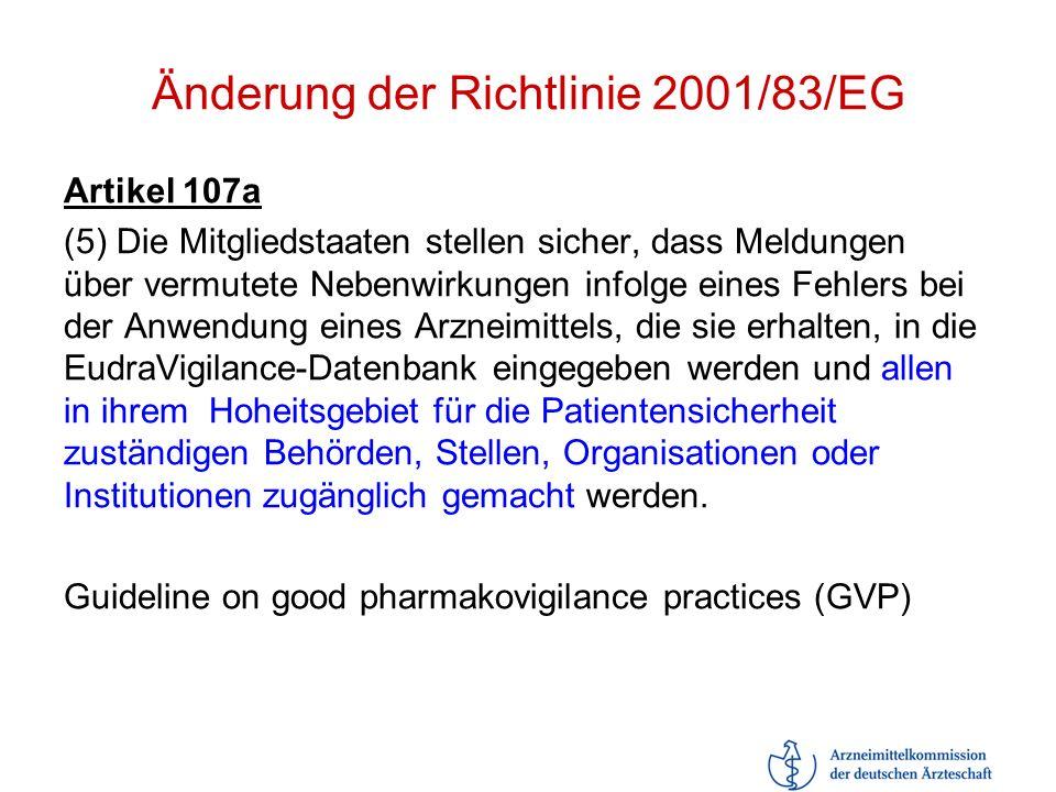Änderung der Richtlinie 2001/83/EG Artikel 107a (5) Die Mitgliedstaaten stellen sicher, dass Meldungen über vermutete Nebenwirkungen infolge eines Feh