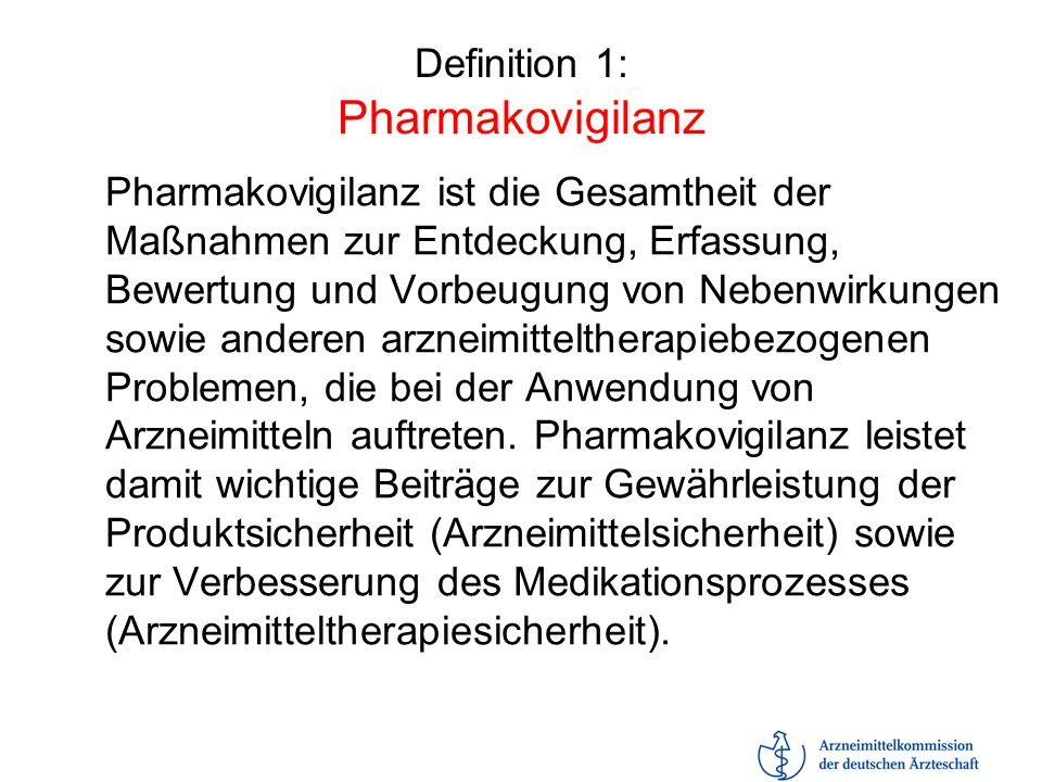 Definition 1: Pharmakovigilanz Pharmakovigilanz ist die Gesamtheit der Maßnahmen zur Entdeckung, Erfassung, Bewertung und Vorbeugung von Nebenwirkunge