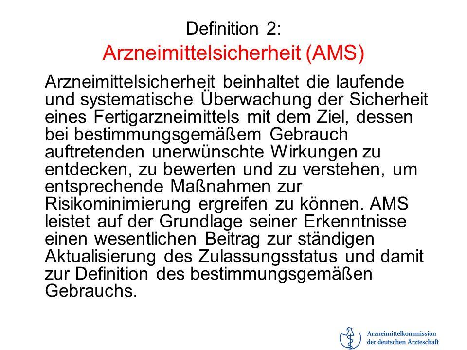 Definition 2: Arzneimittelsicherheit (AMS) Arzneimittelsicherheit beinhaltet die laufende und systematische Überwachung der Sicherheit eines Fertigarz