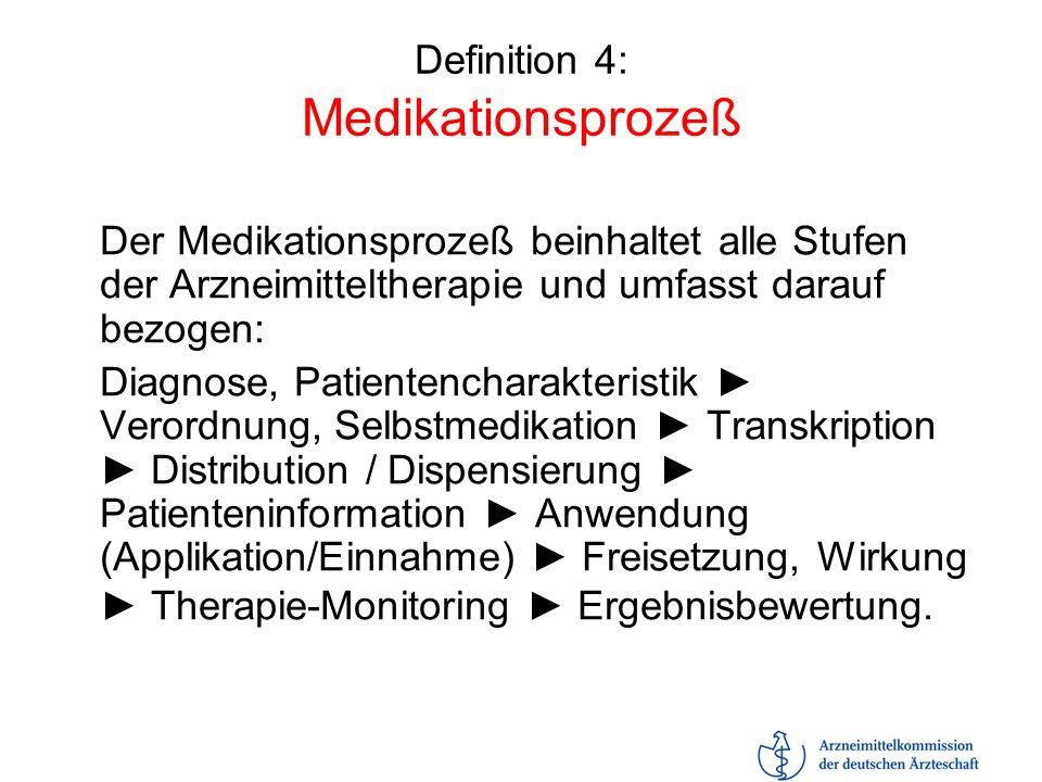 Definition 4: Medikationsprozeß Der Medikationsprozeß beinhaltet alle Stufen der Arzneimitteltherapie und umfasst darauf bezogen: Diagnose, Patientenc