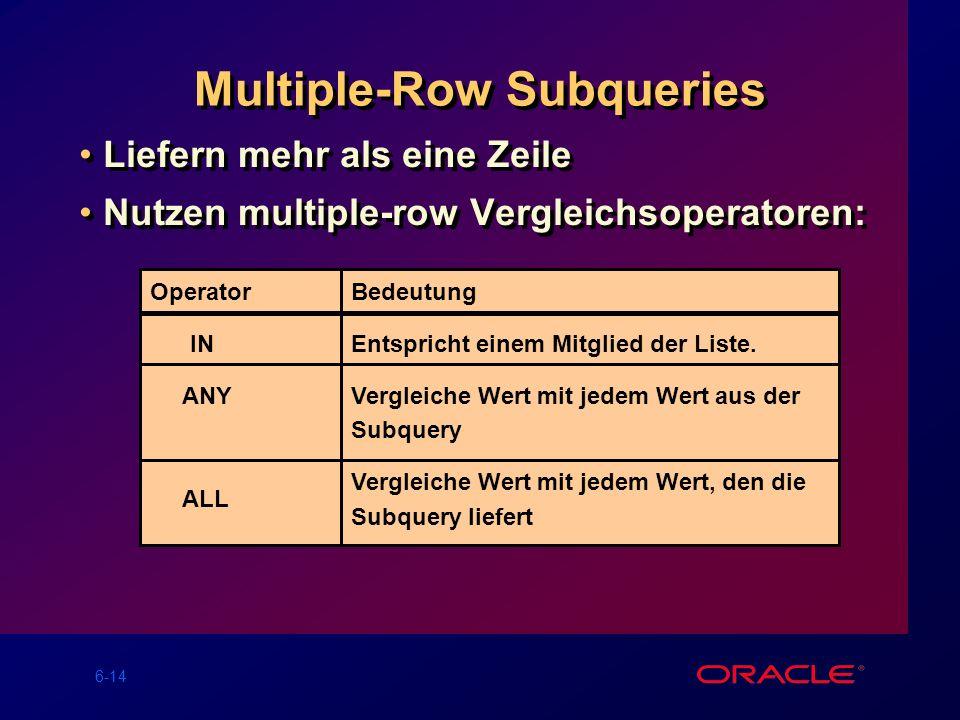 6-14 Multiple-Row Subqueries Liefern mehr als eine Zeile Nutzen multiple-row Vergleichsoperatoren: Liefern mehr als eine Zeile Nutzen multiple-row Vergleichsoperatoren: Operator IN ANY ALL Bedeutung Entspricht einem Mitglied der Liste.