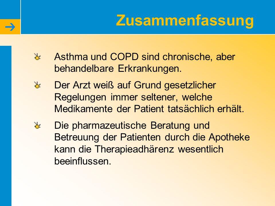 Zusammenfassung Asthma und COPD sind chronische, aber behandelbare Erkrankungen.