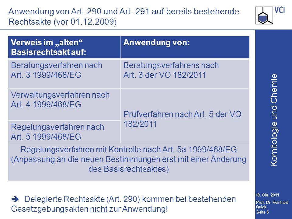 Komitologie und Chemie Seite 6 19.Okt. 2011 Prof.