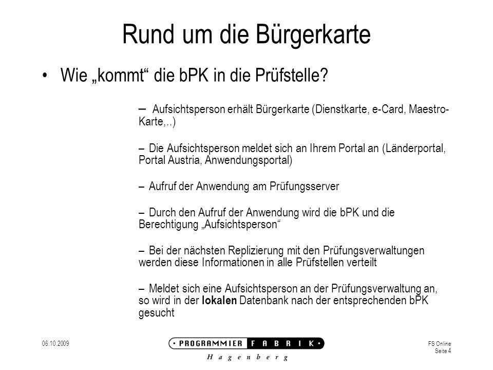 06.10.2009FS Online Seite 4 Rund um die Bürgerkarte Wie kommt die bPK in die Prüfstelle.