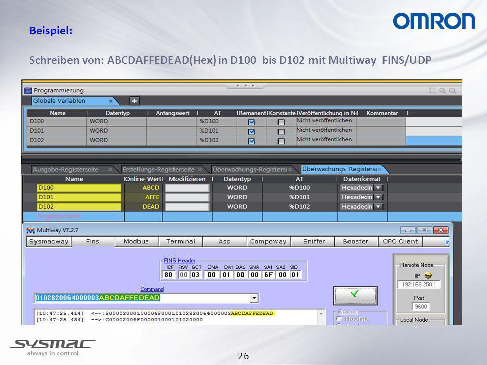 26 Beispiel: Schreiben von: ABCDAFFEDEAD(Hex) in D100 bis D102 mit Multiway FINS/UDP