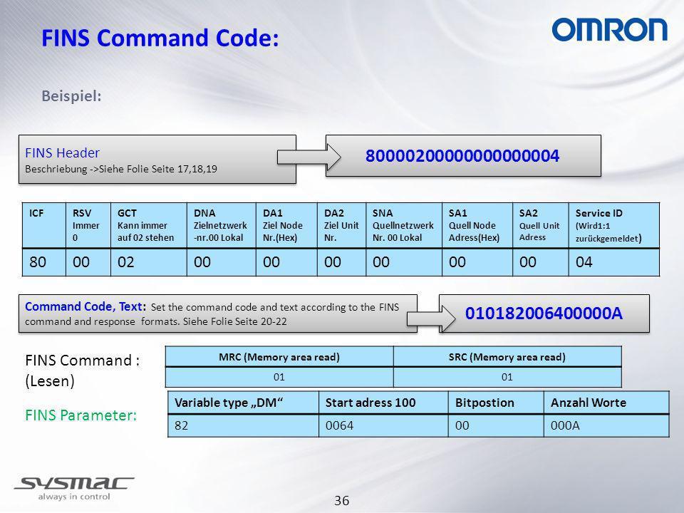 36 FINS Command Code: Beispiel: ICFRSV Immer 0 GCT Kann immer auf 02 stehen DNA Zielnetzwerk -nr.00 Lokal DA1 Ziel Node Nr.(Hex) DA2 Ziel Unit Nr.