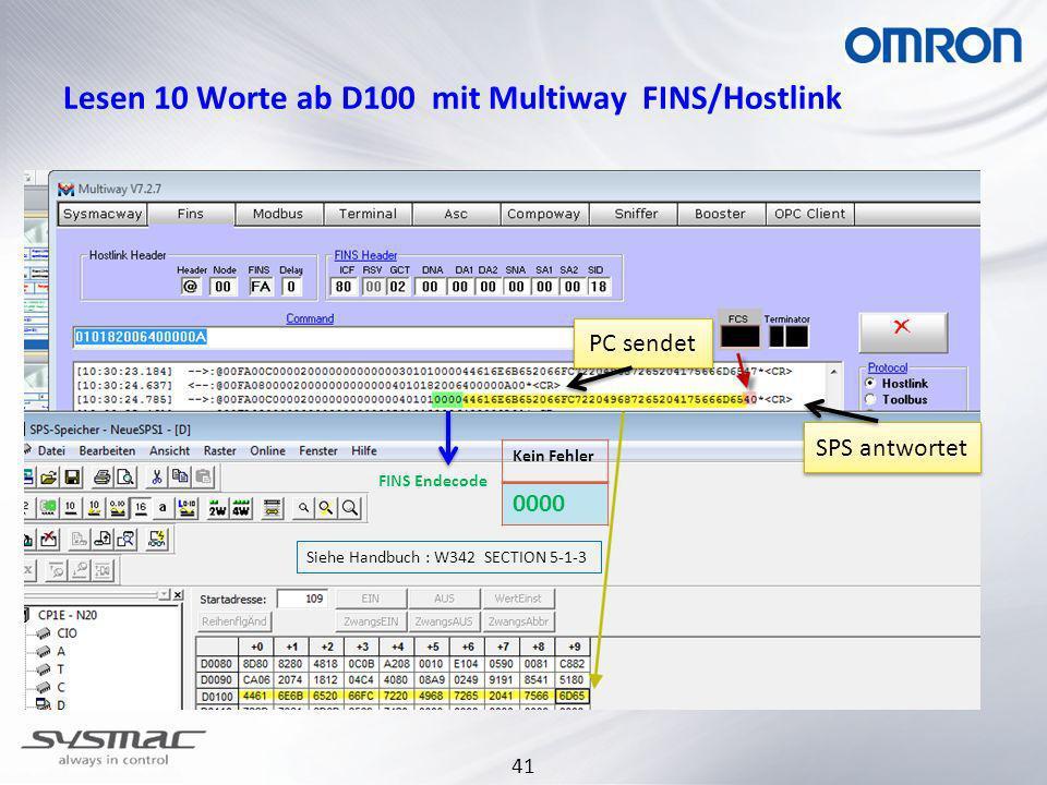 41 Lesen 10 Worte ab D100 mit Multiway FINS/Hostlink FINS Endecode Kein Fehler 0000 Siehe Handbuch : W342 SECTION 5-1-3 PC sendet SPS antwortet