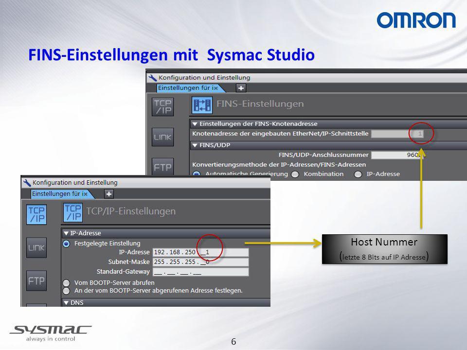 6 FINS-Einstellungen mit Sysmac Studio Host Nummer ( letzte 8 Bits auf IP Adresse ) Host Nummer ( letzte 8 Bits auf IP Adresse )