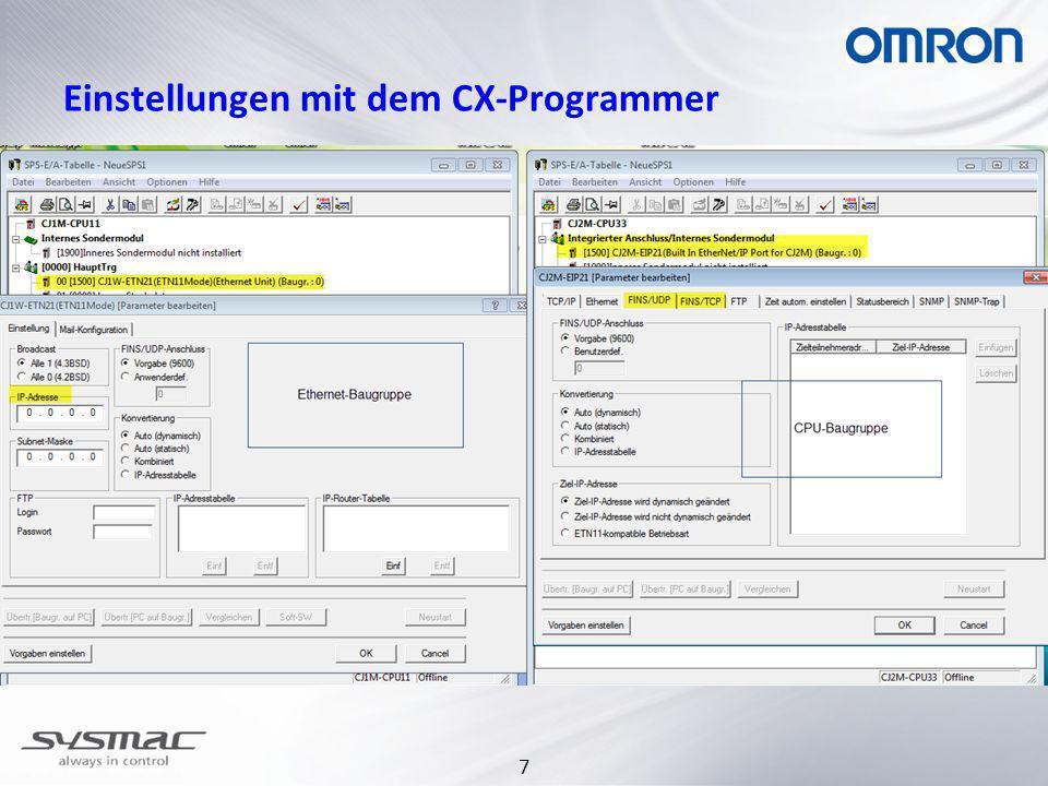 7 Einstellungen mit dem CX-Programmer