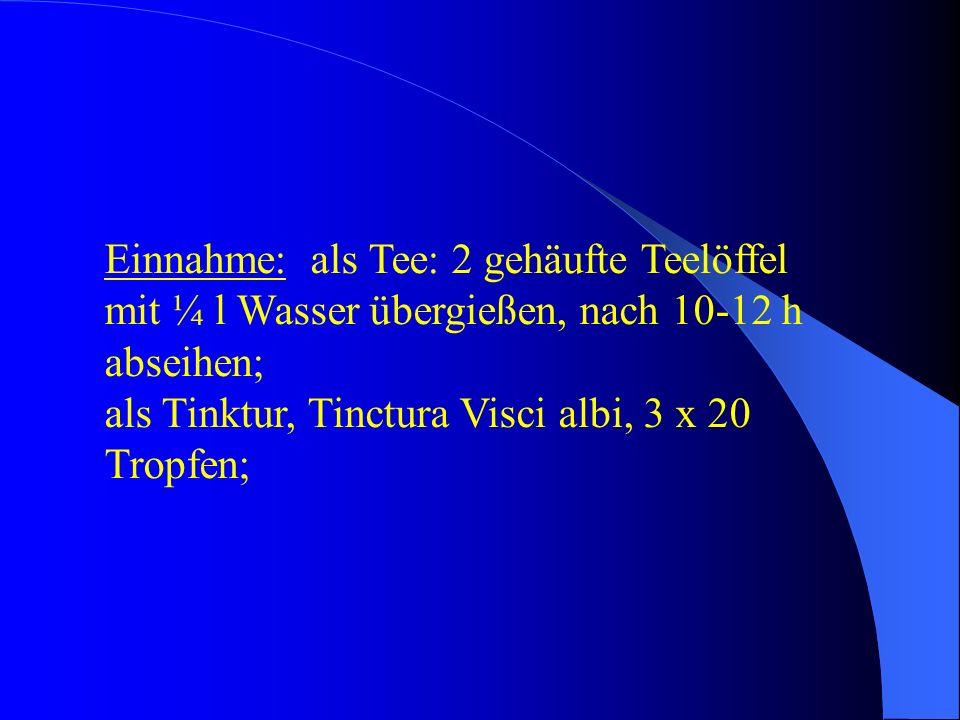 Einnahme: als Tee: 2 gehäufte Teelöffel mit ¼ l Wasser übergießen, nach 10-12 h abseihen; als Tinktur, Tinctura Visci albi, 3 x 20 Tropfen;