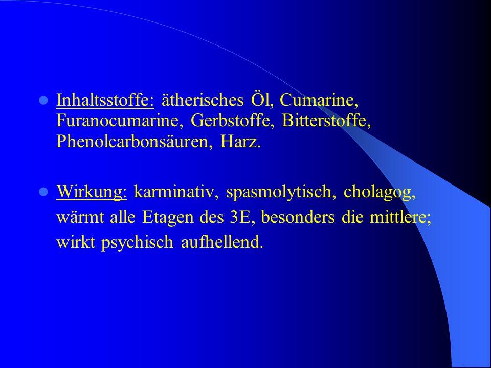Inhaltsstoffe: ätherisches Öl, Cumarine, Furanocumarine, Gerbstoffe, Bitterstoffe, Phenolcarbonsäuren, Harz. Wirkung: karminativ, spasmolytisch, chola