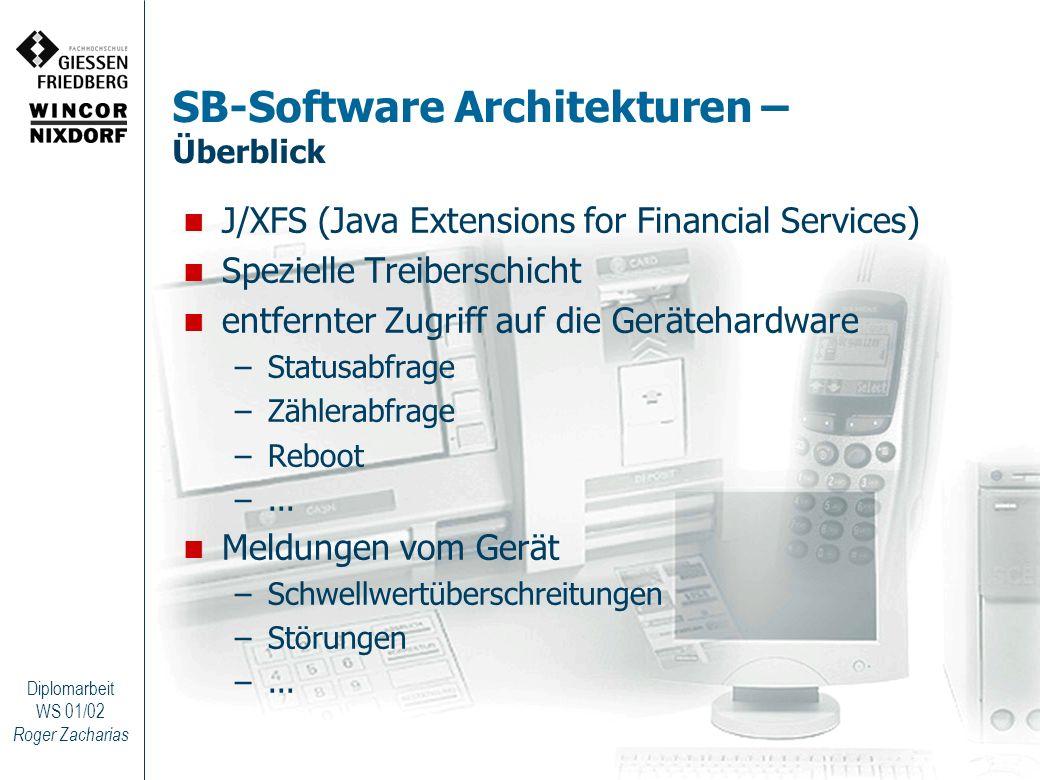 Roger Zacharias Diplomarbeit WS 01/02 SB-Software Architekturen – Überblick J/XFS (Java Extensions for Financial Services) Spezielle Treiberschicht en